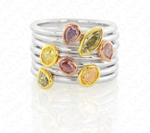 Stackable Colored Diamond Rings