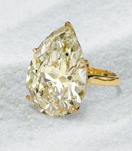 Pear Shaped Yellow Cape Diamond Ring