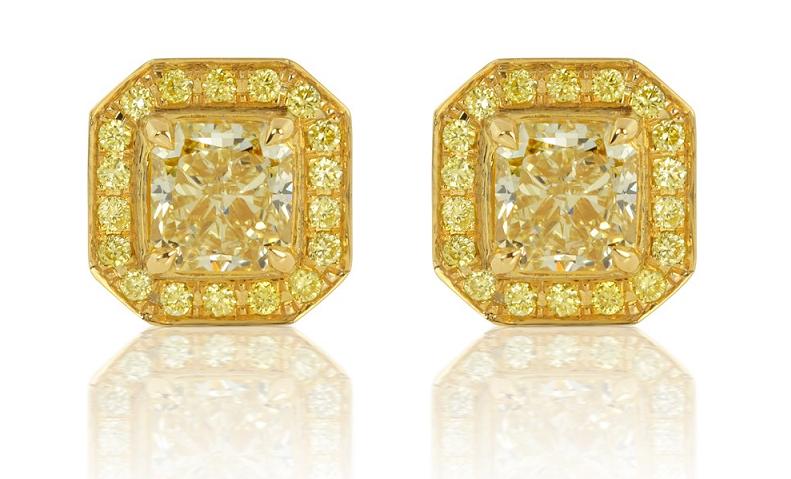 Yellow Diamond Stud Earrings with Halo