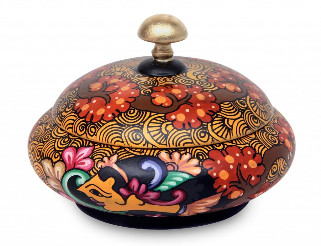 Hand Painted Round Mahogany Box