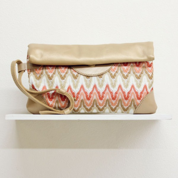 Leather and Woven Clutch
