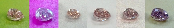 orangy pink diamond against different colors