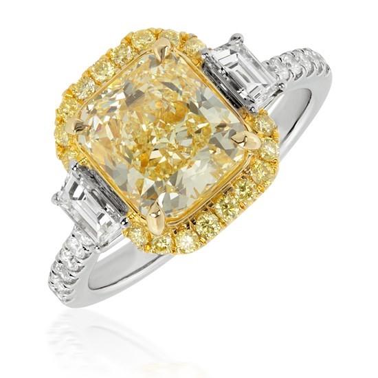 3.88 Carat Fancy Yellow Diamond Ring in 18K Two-Tone Gold