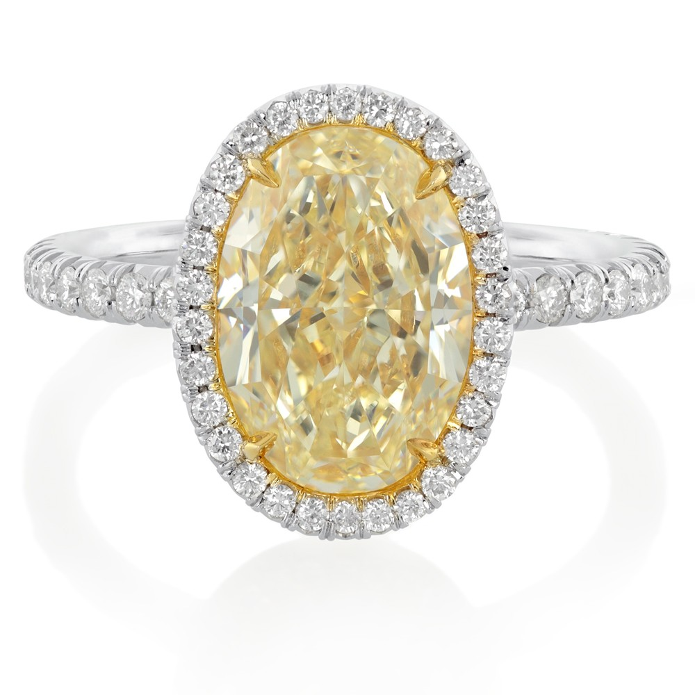 carat oval cut yellow diamond engagement ring with white diamond