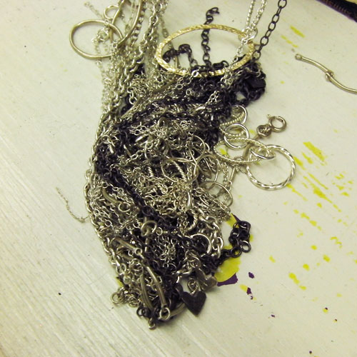 necklaces knotted together