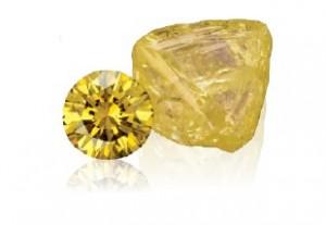 yellow diamond with yellow diamond rough