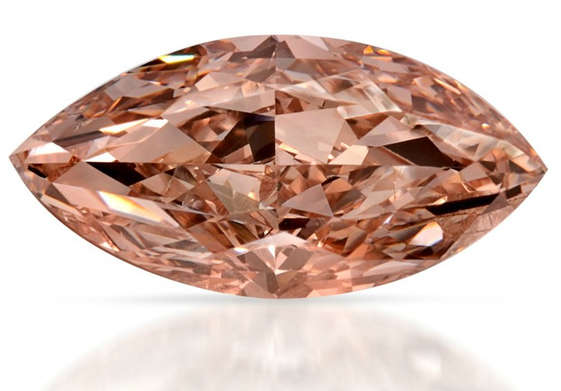 0.72 Carat Natural Fancy Brown-Pink Marquise-Shaped Diamond