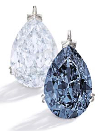 9.75 carat pear-shaped Fancy Vivid Blue diamond to be auctioned by Sotheby's New York in November 2014.
