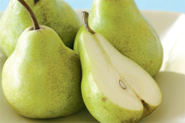 These pears may be tasty but the deliciousness will last for all of five minutes. A natural fancy blue diamond, like the 0.14 carat pear shape, will be around for eternity.