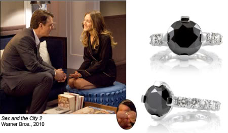 5 carat black diamond ring from Carrie Bradshaw's engagement in Sex and the City 2