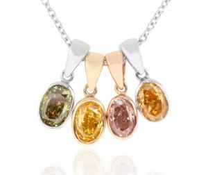 Oval cut fancy multicolored pendants on chain