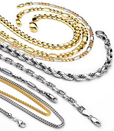 Samples of metal jewelry chains