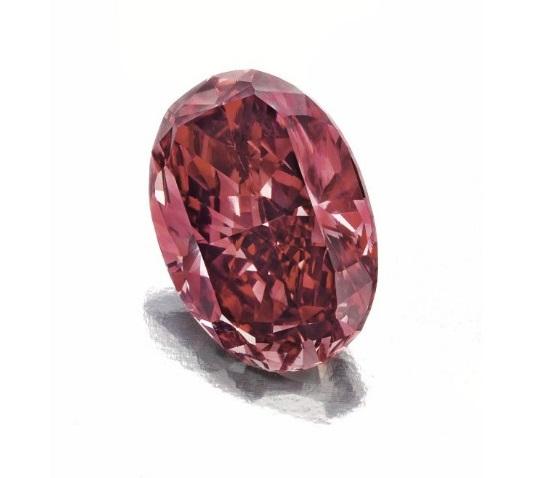 1.42 Carat VS2 Oval-Cut Fancy Red Diamond at Christie's Magnificent Jewels Sale