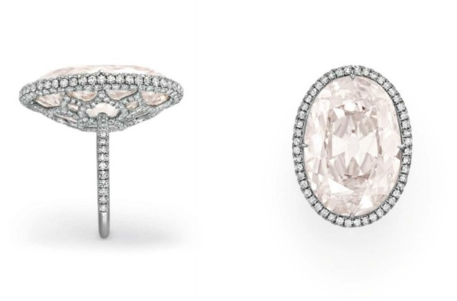 21.30 Carat VS1 Oval-Cut Fancy Light Pink Diamond Ring at Christie's Magnificent Jewels Sale