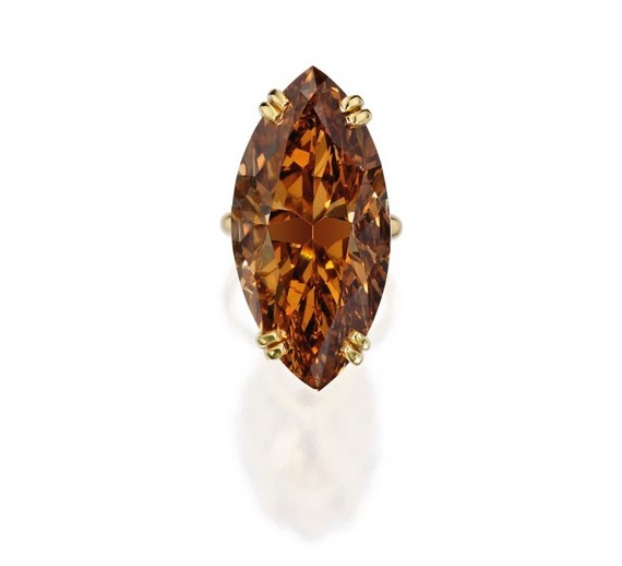 50.34 Carat Marquise-Shaped Fancy Deep Brown-Orange Diamond Ring at Sotheby's Magnificent Jewels Sale
