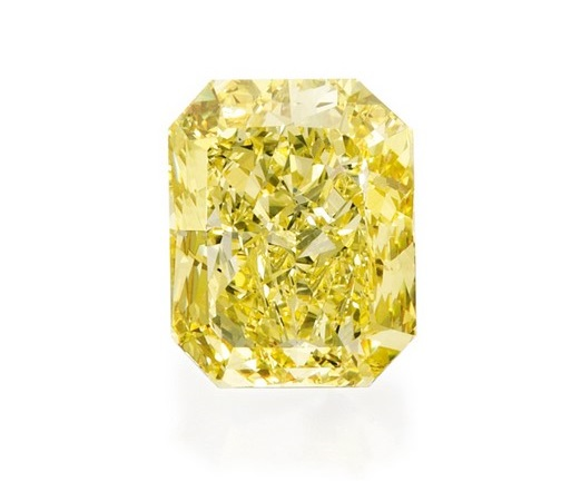 30.48 Carat Radiant Cut Fancy Vivid Yellow Diamond Ring at Sotheby's Magnificent Jewels Sale