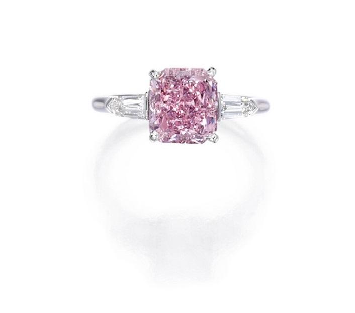3.07 Carat Emerald-Cut Fancy Intense Purplish Pink Diamond Ring at Sotheby's Magnificent Jewels Sale