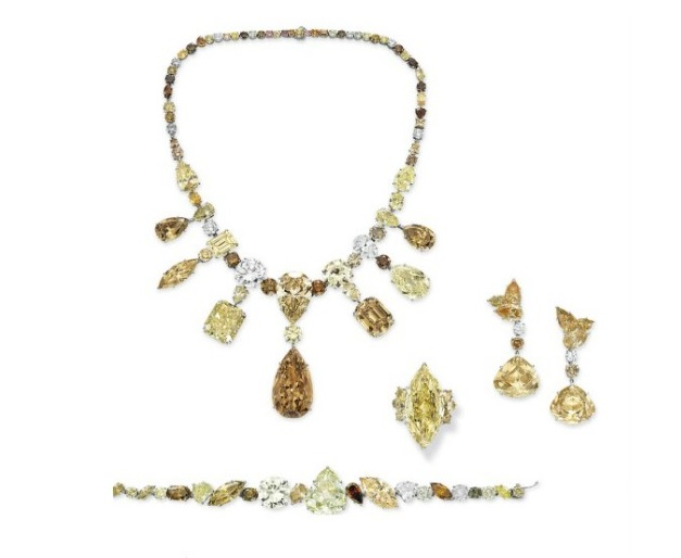 Colored Diamond Jewelry (Necklace, Bracelet, Ear Pendants, Ring) Suite by Jahan at Christie's Magnificent Jewels Sale