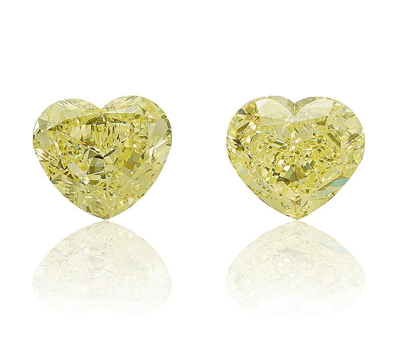 Fancy Yellow Diamond Heart Shapes