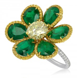 yellow diamond and natural emerald flower ring
