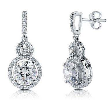 cubic zirconia earrings in sterling silver