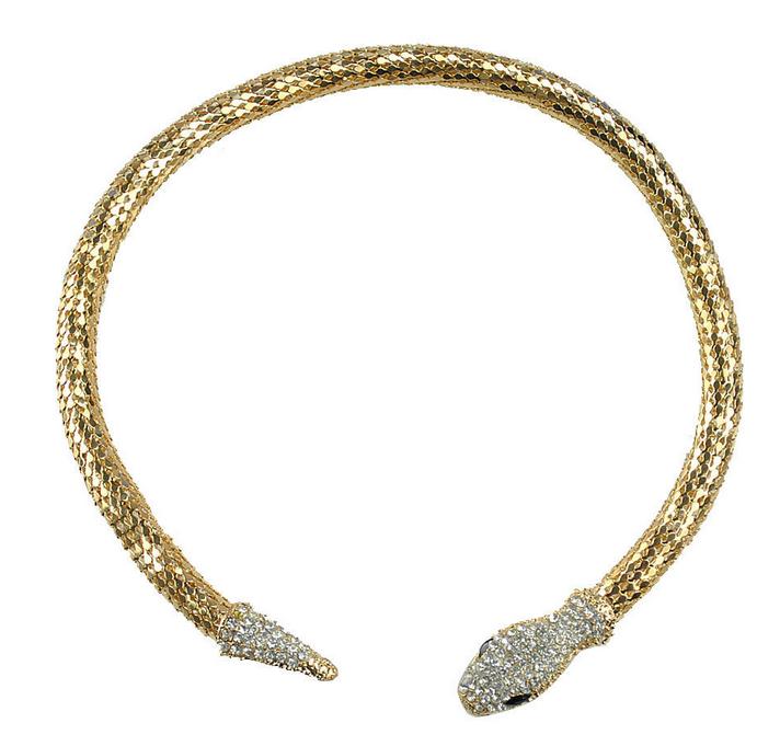 rhinestone snake choker necklace