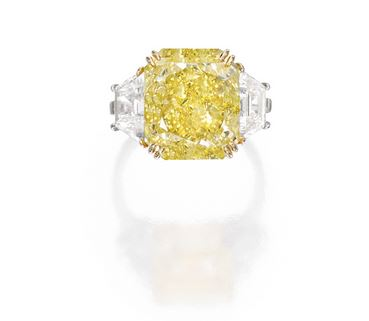 Fancy Intense Yellow Diamond Ring in Platinum and 18K Gold