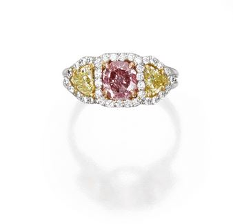Fancy Intense Pink Diamond Ring in Platinum and 18K Gold