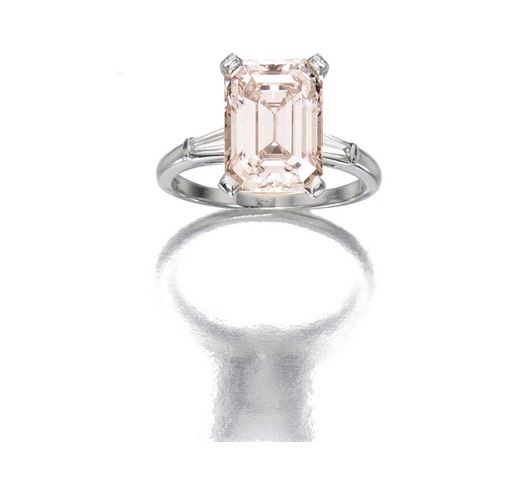 Very Light Pink Diamond Ring in Platinum