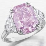5.29 carat VS2 radiant cut Fancy Intense Purplish Pink diamond from Christie's New York auction