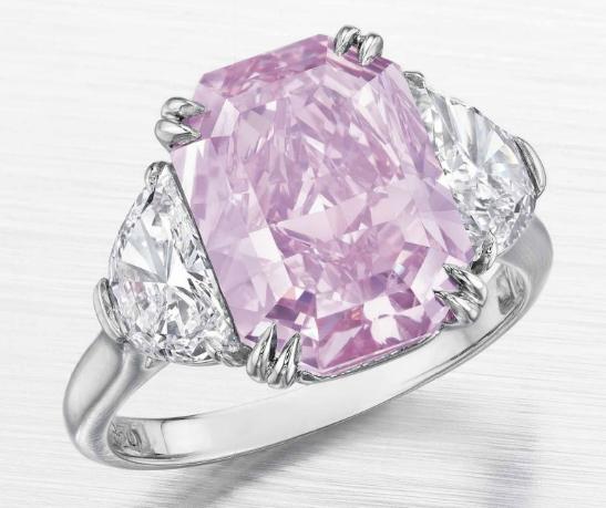 5.29 carat VS2 radiant cut Fancy Intense Purplish Pink diamond from Christie's New York auction - rare colored diamonds at auction