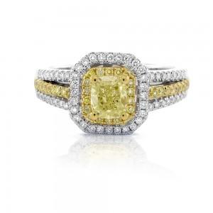 Natural Fancy Yellow Diamond Engagement Ring