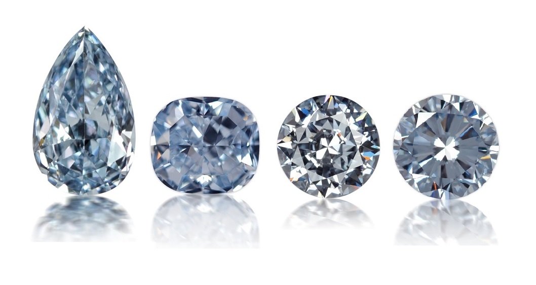 Set of four individual natural Fancy Intense Blue diamonds of varying color tones