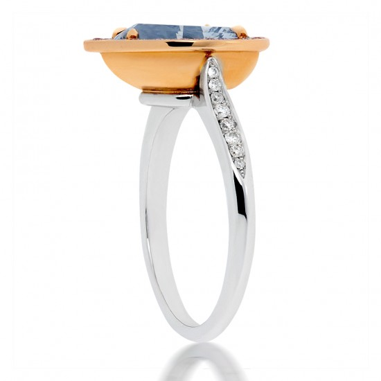 2.30 Carat Fancy Light Blue Diamond Ring in Platinum/18K Gold