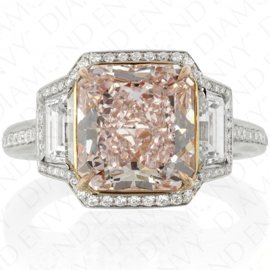 4.20 Carat Fancy Pink Diamond Ring in Platinum/18K White Gold