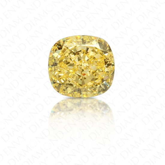 6.20 Carat Cushion Fancy Intense Yellow Diamond