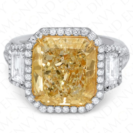 9.02 Carat Fancy Light Yellow Diamond Ring in Platinum/18K Gold