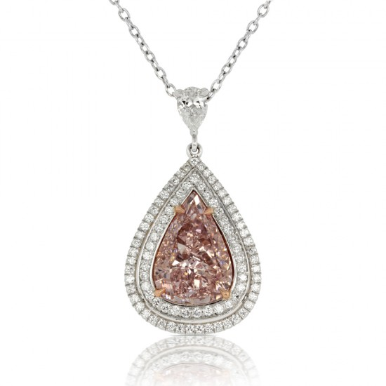 2.01 Carat Fancy Pink Diamond Pendant in Platinum/18K White Gold
