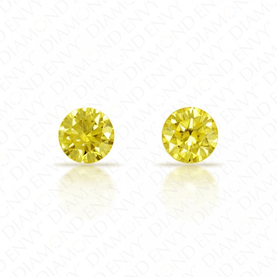 0.37 Total Carat Weight VS1 Round Brilliant Pair of Fancy Intense Greenish Yellow Diamonds