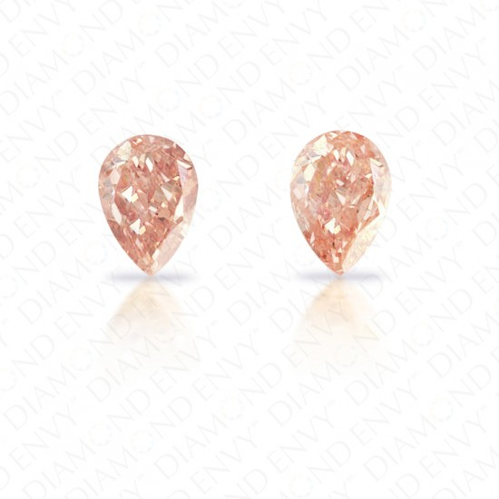 1.15 Total Carat Weight Pear-Shaped Pair of Fancy Brown Pink Diamonds