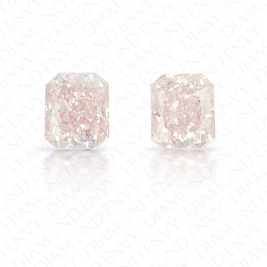 0.72 Total Carat Weight Radiant Cut Pair of Fancy Light Pink Diamonds