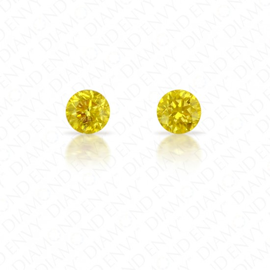 0.55 ct. tw. Round Brilliant Pair of Natural Fancy Vivid Orangy Yellow Diamonds