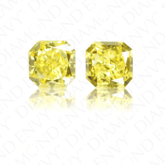 0.72 ct. tw. Radiant Cut Pair of Natural Fancy Vivid Yellow Diamonds