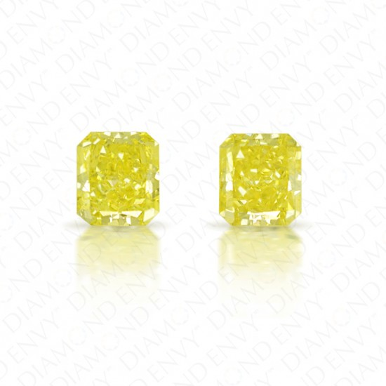 1.14 ct. tw. Radiant Cut Pair of Natural Fancy Yellow Diamonds