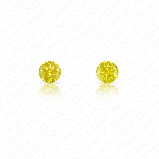 0.29 ct. tw. Round Brilliant Pair of Natural Fancy Intense Yellow Diamonds