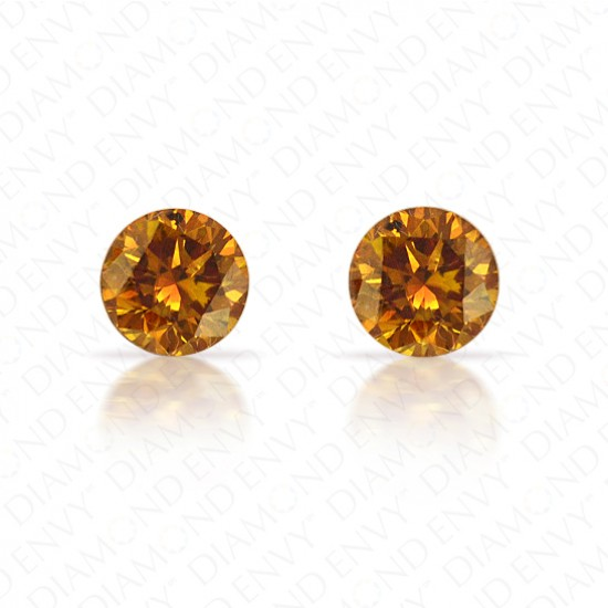 0.62 ct. tw. Round Brilliant Pair of Natural Fancy Deep Brown-Orange Diamonds