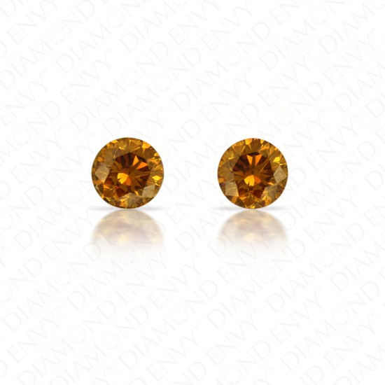 0.70 ct. tw. Round Brilliant Pair of Natural Fancy Deep Brownish Orangy Yellow Diamonds