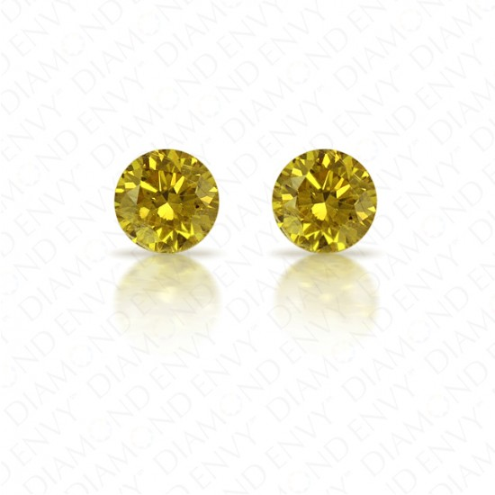 0.62 ct. tw. Round Brilliant Pair of Natural Fancy Deep Brownish Greenish Yellow Diamonds