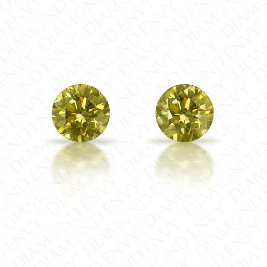 0.40 ct. tw. Round Brilliant Pair of Natural Fancy Deep Brownish Greenish Yellow Diamonds