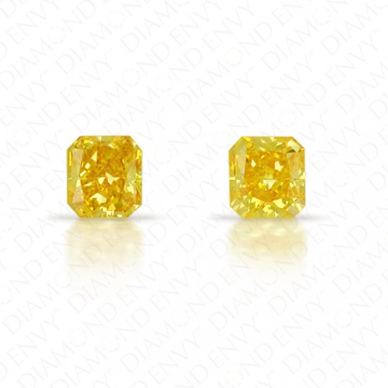 0.41 Total Carat Weight Radiant Cut Pair of Fancy Vivid Orangey Yellow Diamonds